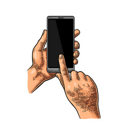 Hands holding and touching a large mobile phone vector