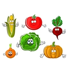 Happy autumnal vegetable cartoon characters vector image