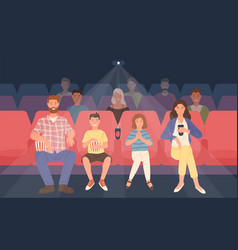 happy family sitting in movie theater or cinema vector image