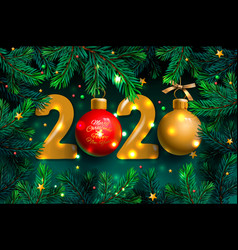 happy new year 2020 template holiday vector image
