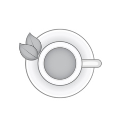 Herbal tea cup icon black monochrome style vector image