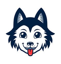 Husky dog head cartoon vector