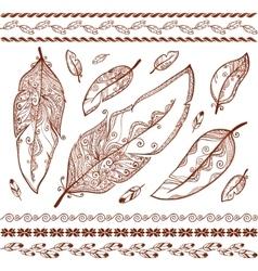 Indian mehndi style feathers set vector