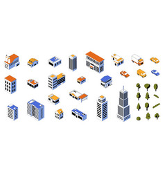 Isometric city kit 3d buildings low poly vector