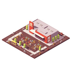 Isometric low poly supermarket vector