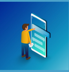 Isometric man typing on mobile smartphone sms vector