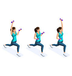 isometry of a girl engaged in sports vector image