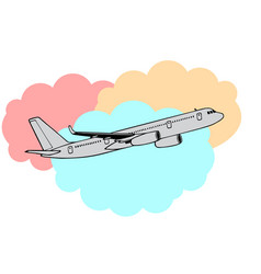 Jetliner or jet airliner drawing on clouds vector