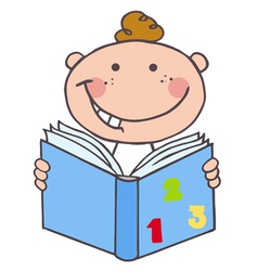 Kid Boy Reading A Book vector image