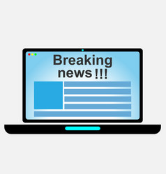 laptop with online news vector image