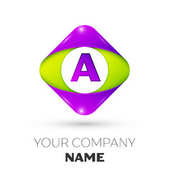 Letter a logo symbol in colorful rhombus vector