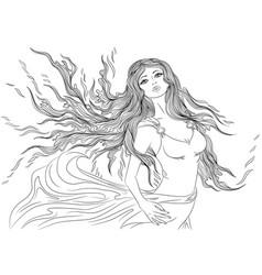 Line art fire element girl vector