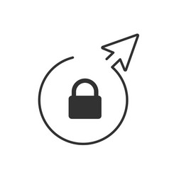 lock symbol in linear circle with arrow isolated vector image