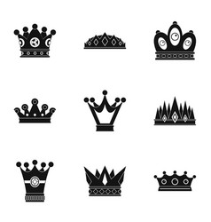 luxury crown icon set simple style vector image