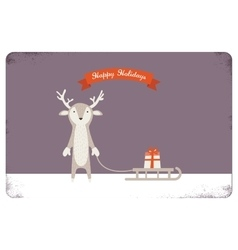 merry christmas card design cute deer holding a vector image