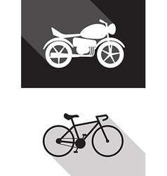 Motorcycle and bicycle vector