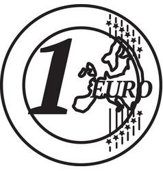 One european union euro coin vector