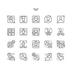 people avatar well-crafted thin line icons vector image