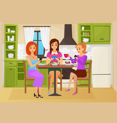 people friends eat food in cute kitchen together vector image