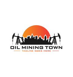 petroleum mining city logo vector image