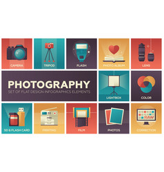 Photography - set flat design infographics vector