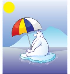 polar bear with umbrella vector image