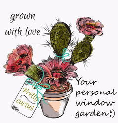 Pretty card with hand drawn cactus grown with love vector