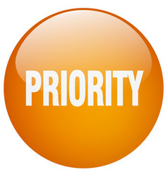 Priority orange round gel isolated push button vector