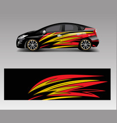 Racing car wrap with abstract stripe shapes vector