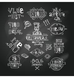 Restaurant label chalkboard vector image