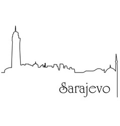 sarajevo city one line drawing background vector image vector image