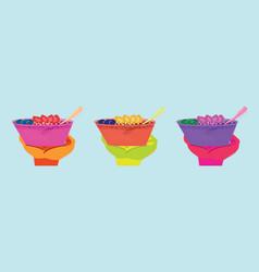 Set delicious and healthy meal acai cream vector