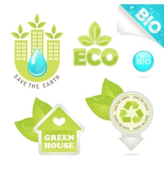 set eco and bio icons vector image