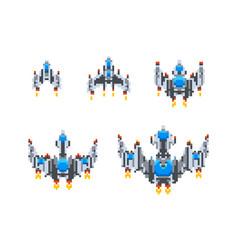 set level up cute little spaceships vintage vector image