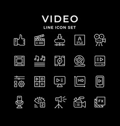 set line icons video vector image