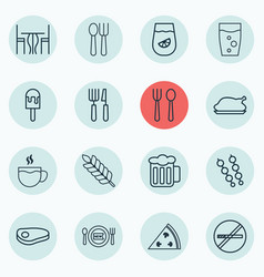 Set of 16 meal icons includes lemonade pepperoni vector