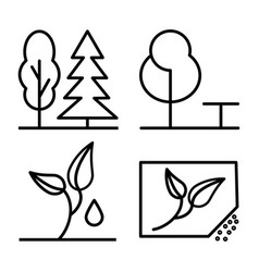 Set plants and trees thin line icon 48x48 vector