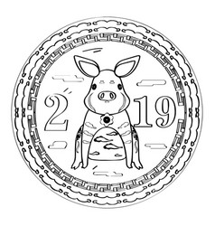 Sketch of a chinese new year label vector