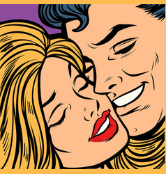 smiling man and woman close-up face a couple in vector image