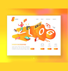 social media isometric landing page template vector image