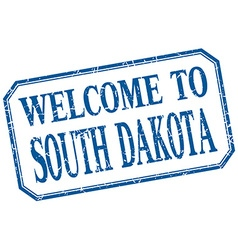 South Dakota - welcome blue vintage isolated label vector