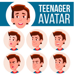 Teen boy avatar set face emotions facial vector