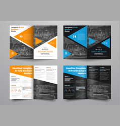 Template of white and black bi-fold brochure with vector