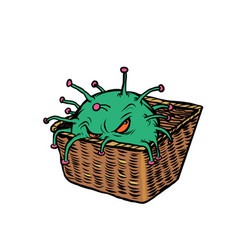 The coronavirus is lying in basket and glaring vector