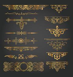 Vintage decorative design element set gold vector