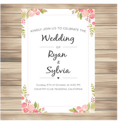 Wedding invitation with pink roses vanilla backgro vector