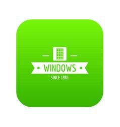Window company icon green vector