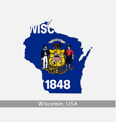 wisconsin usa map flag vector image