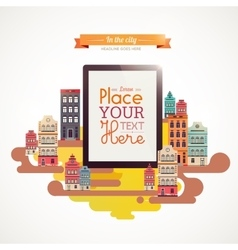 With tablet in town vector