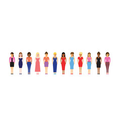 Women in a line vector